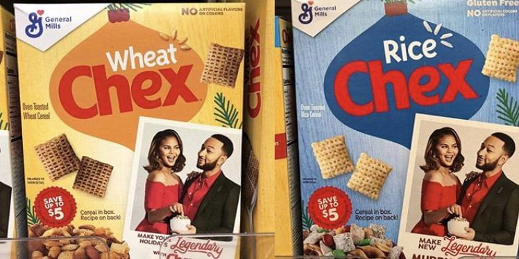 Chrissy Teigen and John Legend Are on Boxes of Chex Cereal for the Holiday Season