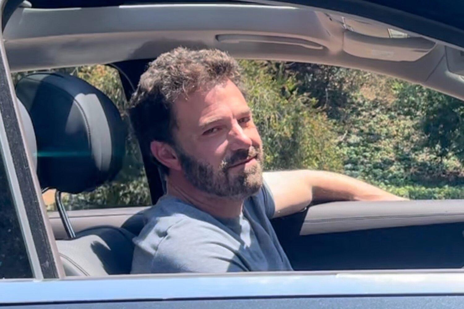 Ben Affleck spotted with huge grin leaving J. Lo's House