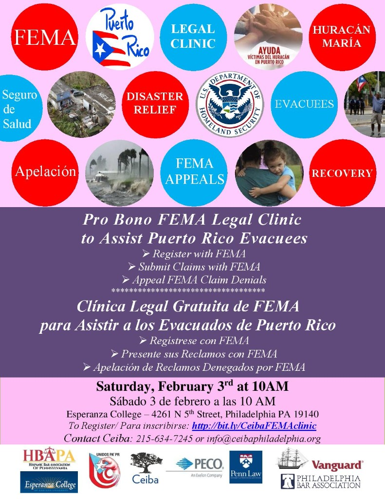 Sat, 2/3/18, Pro Bono FEMA Legal Clinic to Help P.R. Evacuees –  Disaster Relief