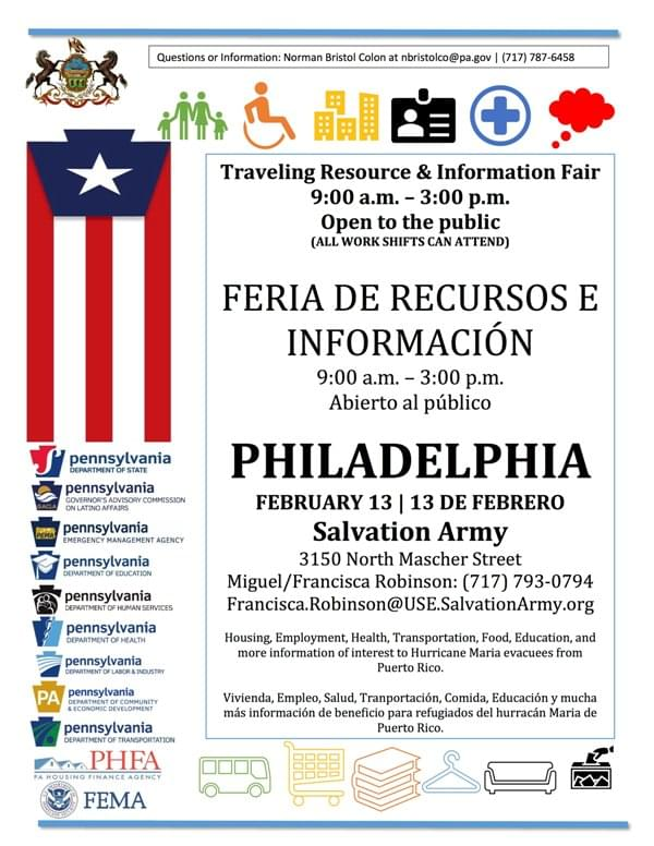 PA Dept of State: Philly PR Disaster Relief Resource Fair 2-13-2018