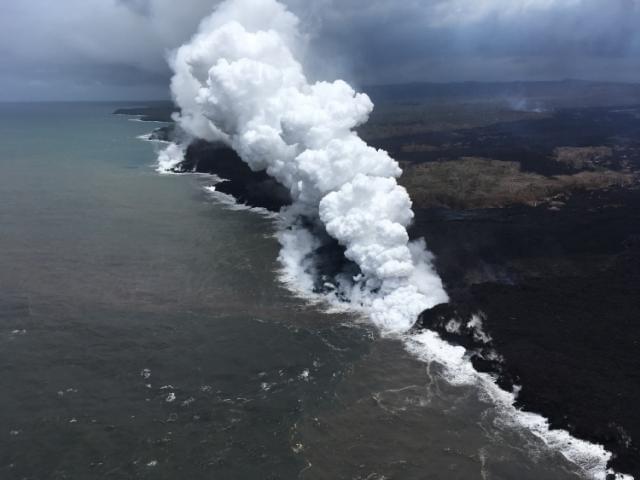 Fast-flowing lava oozes toward ocean on Hawaii's Big Island