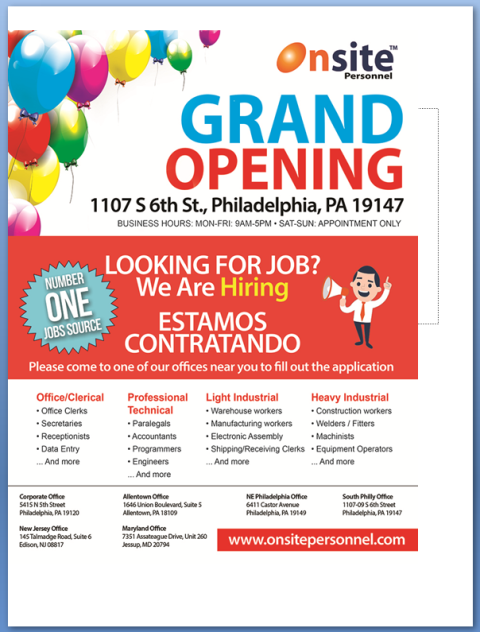 """Looking For A JOB Call   """"OnSite Personnel"""""""
