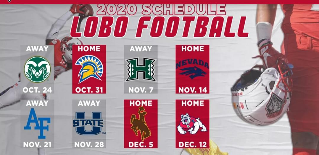 UNM Football: Lobos scheduled to kick off 8-game regular season against Colorado State on 10/24
