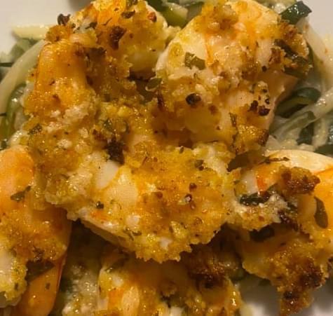 Crispy Garlic Butter Baked Shrimp Scampi