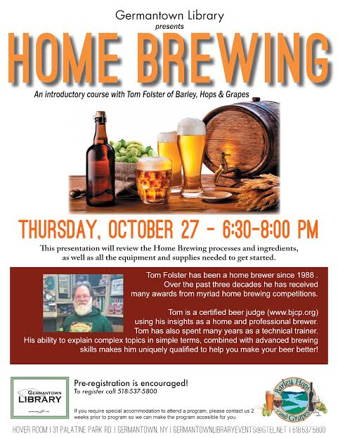 Home Brewing 101: An Introductory class with Tom Folster of Barley Hops and Grapes