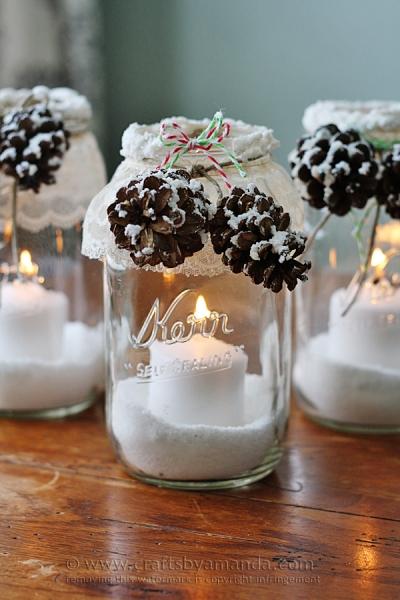 Craft: Snowy Pinecone Luminaries