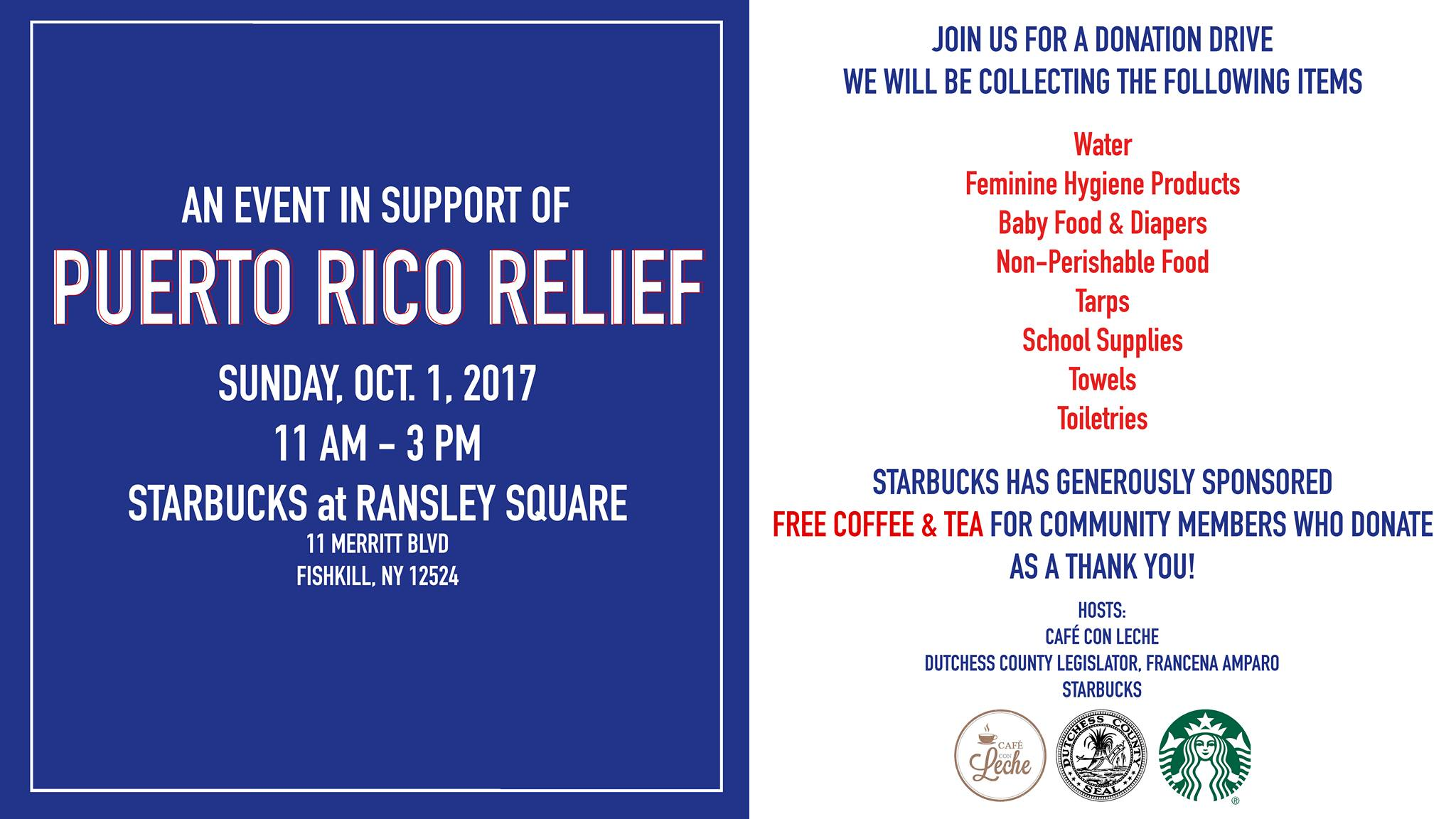 Huricane Relief Drive to Benefit Puerto Rico