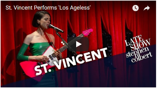 """VIDEO: St. Vincent performs """"Los Ageless"""" on Colbert"""