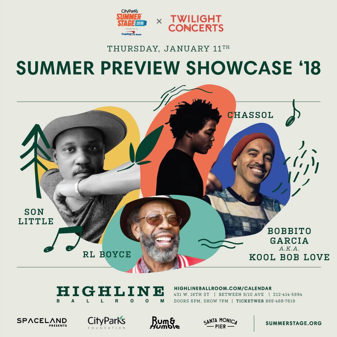 Summer Preview Showcase '18 feat. Son Little, Chassol, R.L. Boyce, Jupiter & Okwess + Bobbito Garcia a.k.a. Kool Bob Love