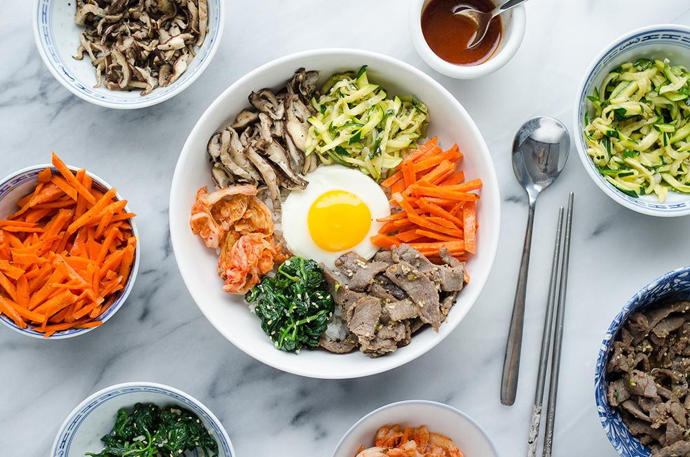 Korean Mixed Rice Bowl Food Demo