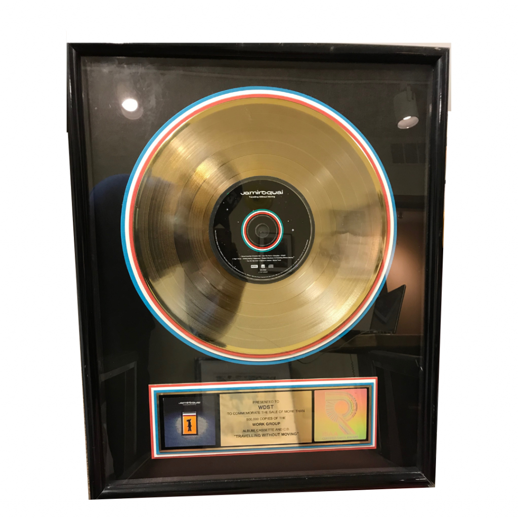 Jamiroquai RIAA gold record Traveling Without Moving