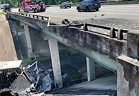Two lanes of I-75 southbound closed due to a wreck on bridge