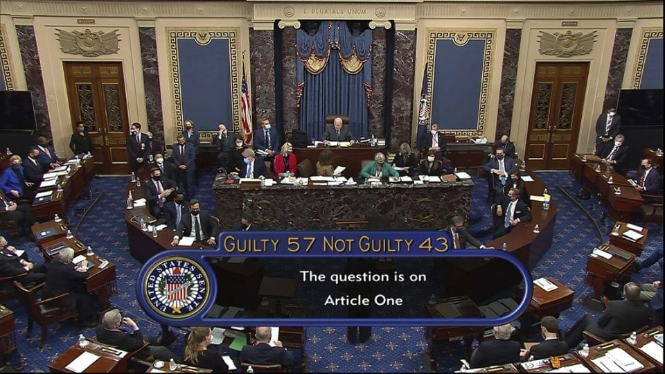 Senate fails to achieve two-thirds majority needed to convict Trump thanks supporters and complaints about 'witch-hunt'