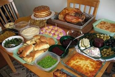 Thanksgiving meal spread