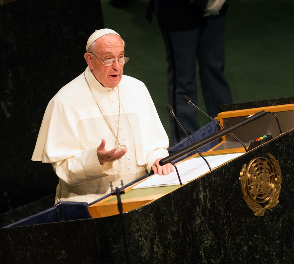Pope Francis Addresses the United Nations General Assembly in New York City on September 25, 2015