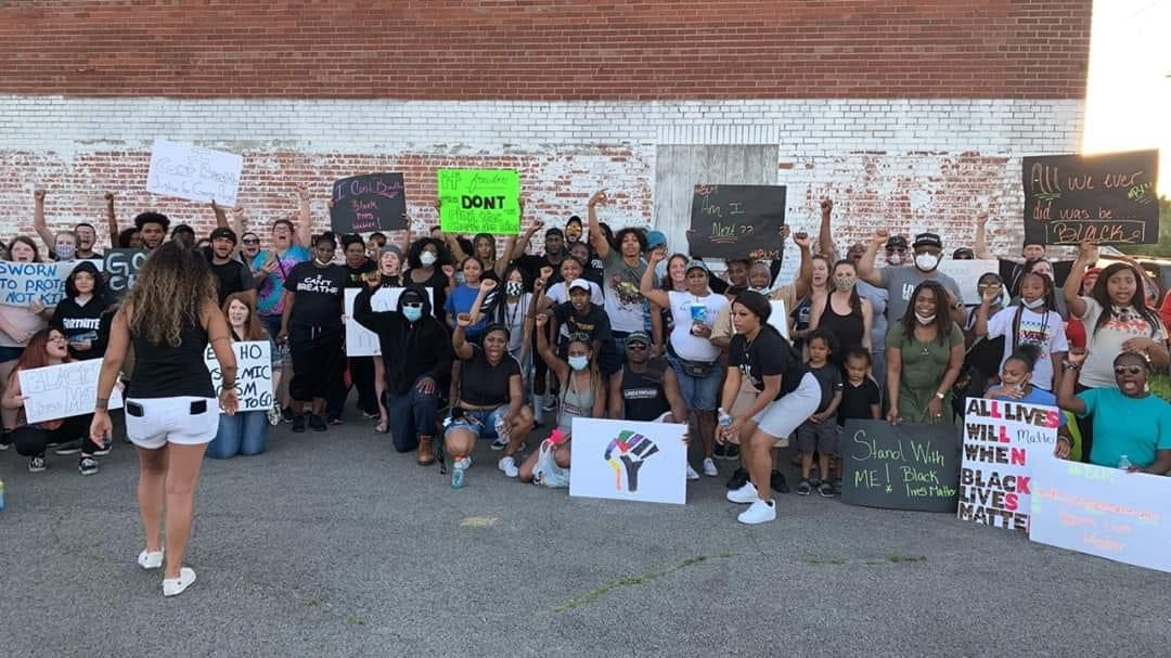 Protesters in response to George Floyd's death assemble peacefully in Mt. Vernon Sunday