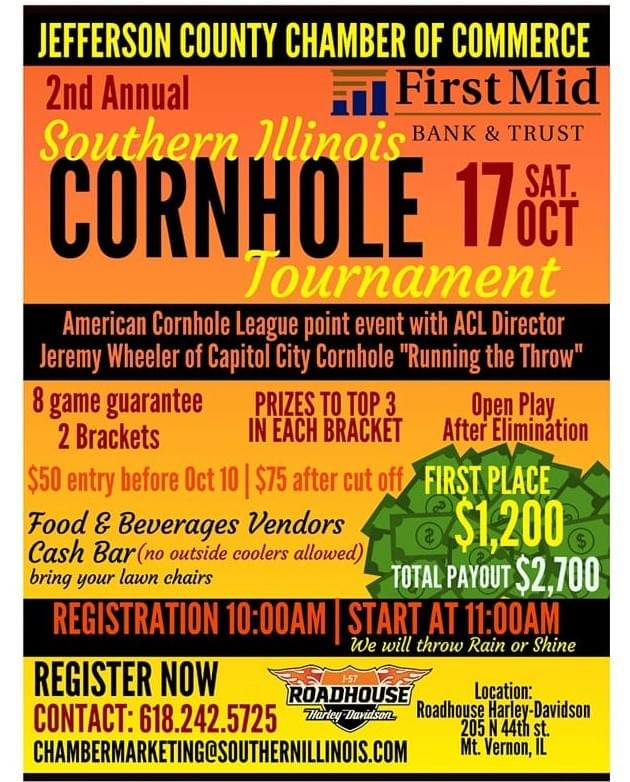 OCTOBER 17: 2ND ANNUAL JEFFERSON COUNTY CORNHOLE TOURNAMENT- MT VERNON