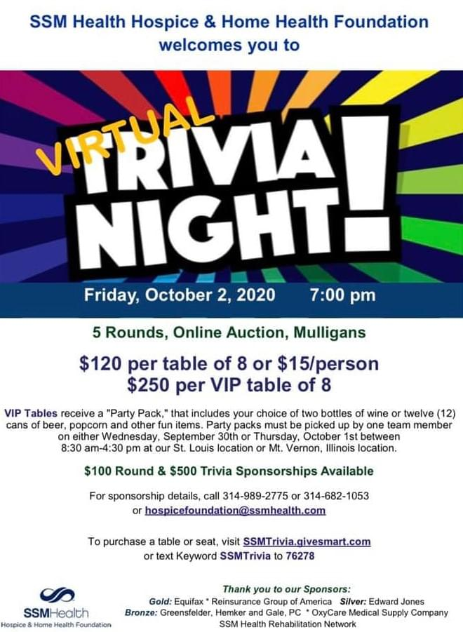 OCTOBER 2: SSM HEALTH HOSPICE & HOME HEALTH VIRTUAL TRIVIA NIGHT-ONLINE