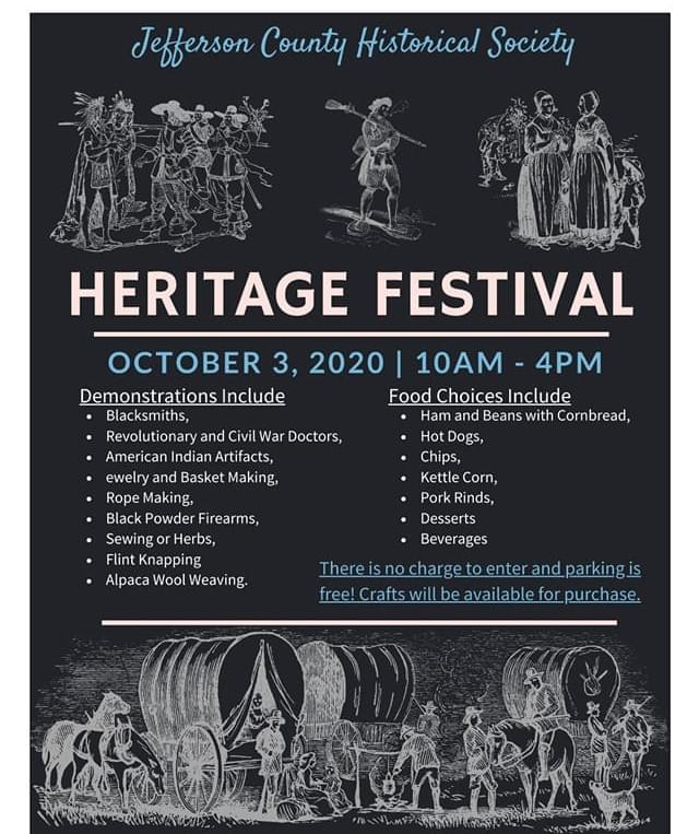 OCTOBER 3: JEFFERSON CO. HISTORICAL SOCIETY HERITAGE FESTIVAL- MT VERNON