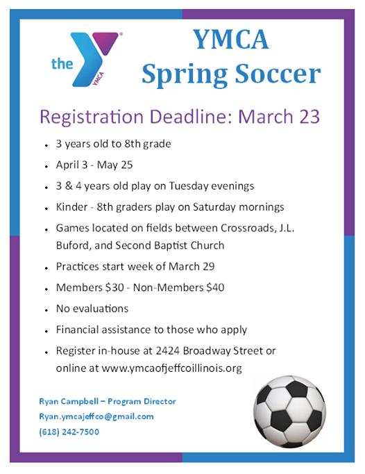 YMCA Spring Soccer Registration