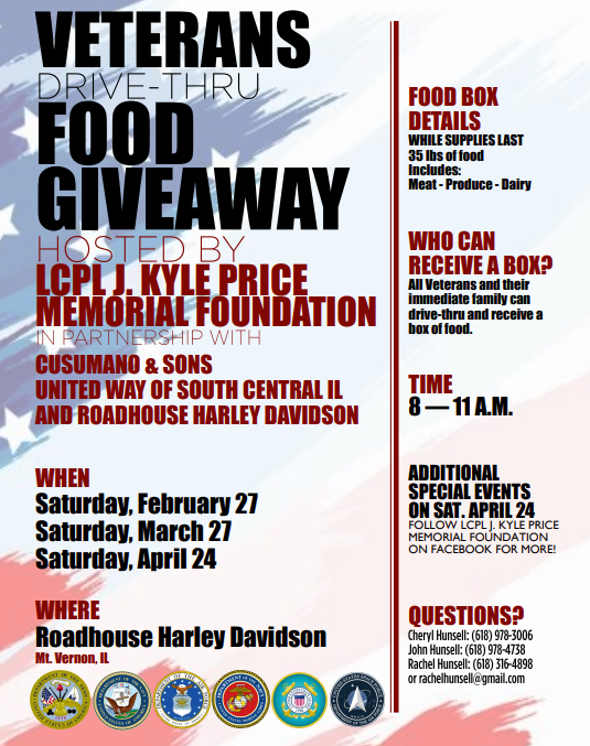 LCpl J. Kyle Price Memorial Foundation to co-host Veterans Food Drive this Saturday at Roadhouse HD/RV