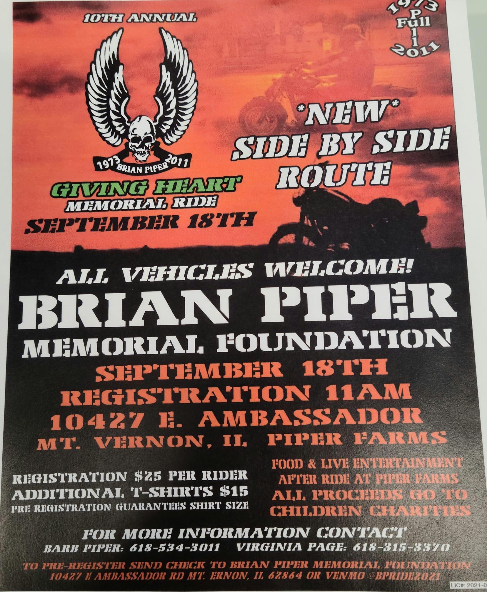 Brian Piper Memorial Ride Sept 18th